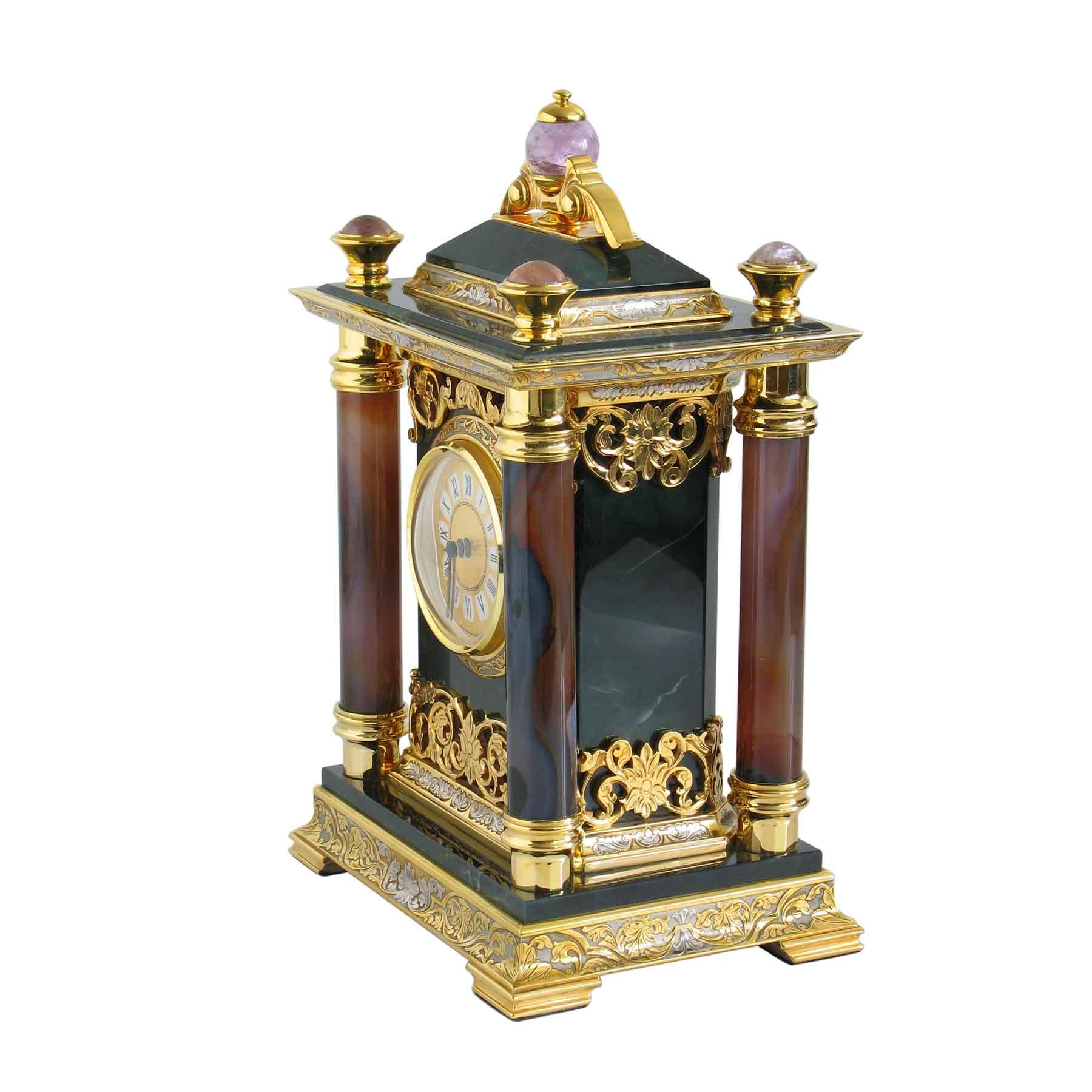 Часы кабинетные настольные из агата