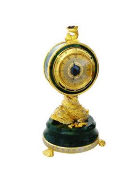Часы настольные нефритовые на рыбах по мотивам К.Фаберже