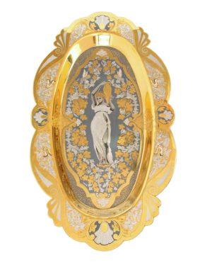 Златоустовская гравюра на подносе в подарок