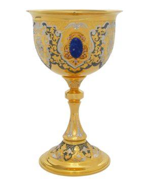 Кубок малый со вставками афганского лазурита