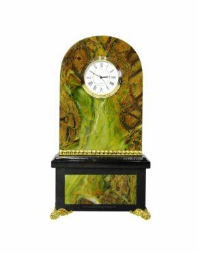 Часы настольные из камня офиокальцита