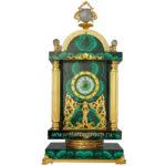 Часы малахитовые каминные